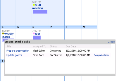 Tasks Associated with Event